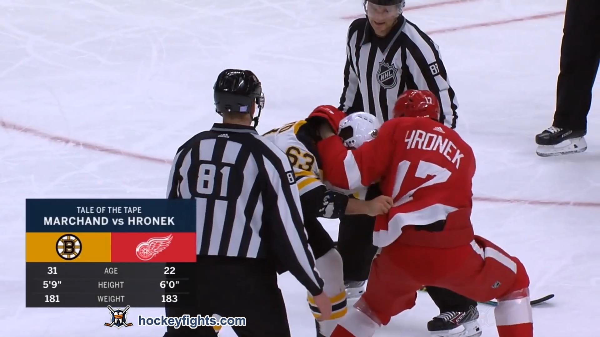 Filip Hronek vs. Brad Marchand
